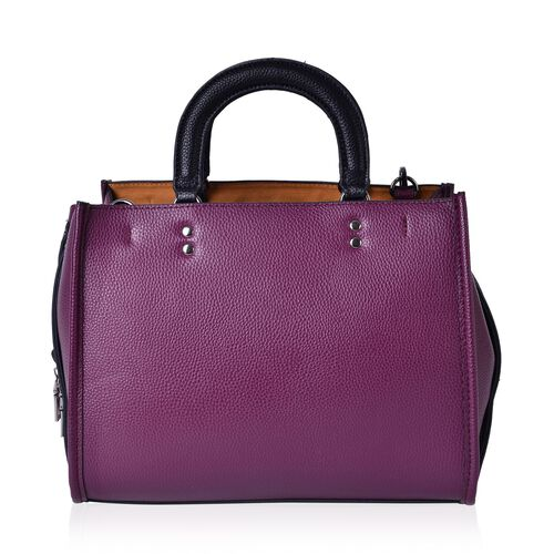 Dark Purple and Black Colour Tote Bag with Adjustable and Removable Shoulder Strap (Size 31x25x13 Cm)