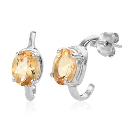 Citrine (Ovl) Earrings (with Push Back) in Platinum Overlay Sterling Silver 3.25 Ct.