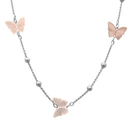 Italian Made - Rose Gold Overlay and Plain Sterling Silver Butterfly Station Necklace (Size 22), Sil