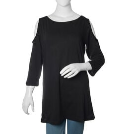 New for Season - 100% Cotton Black Colour Cutout Shoulder Top (Size 75X55 Cm)