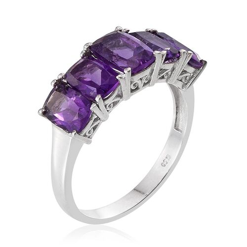 Lusaka Amethyst (Cush 1.75 Ct) 5 Stone Ring in Platinum Overlay Sterling Silver 5.750 Ct.