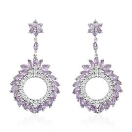 Rose De France Amethyst (Mrq and Rnd), Natural Cambodian Zircon Earrings (with Push Back) in Platinum Overlay Sterling Silver 14.000 Ct. Silver wt 12.09 Gms. Number of Gemstone 116