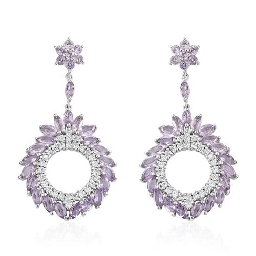Rose De France Amethyst (Mrq and Rnd), Natural Cambodian Zircon Earrings (with Push Back) in Platinu