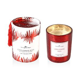Scented Crackle Glass Candle in CBD Box with Tassel (H- 9.5 Cm, Dia-8 Cm) - Red (Cinnamon Kiss Fragr