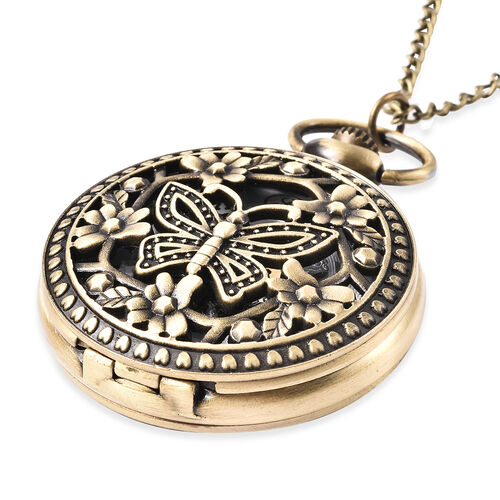 GENOA Automatic Mechanical Hollow-Out Butterfly and Flowers Pattern Pocket Watch with Chain in Antique Bronze Tone