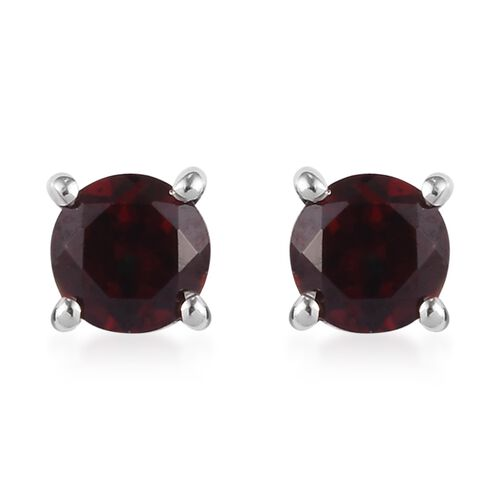 3 Piece Set -  Mozambique Garnet Pendant with Chain (Size 18) and Stud Earrings (with Push Back) in Platinum Overlay Sterling Silver 1.75 Ct.