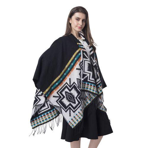 Black Colour Cross Pattern Blanket Kimono (Size 133x70 Cm)