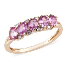 9K Yellow Gold AA Pink Sapphire (Ovl), Diamond Ring 1.000 Ct.