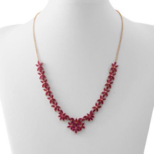 Designer Inspired -AAA African Ruby (Mrq) Necklace (Size 18) in Rhodium and 14K Gold Overlay Sterling Silver 14.500 Ct. Silver wt 18.00 Gms. No of Ruby 99 Pcs