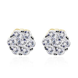 0.50 Ct Diamond Floral Stud Earrings in 9K Yellow Gold SGL Certified I3 GH