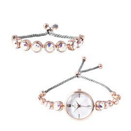 2 Piece Set - J Francis Crystal from Swarovski - AB Crystal (Rnd) GENOA Japanese Movement Water Resi