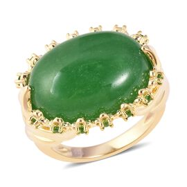 Green Jade (Ovl 20x15 mm), Russian Diopside Ring in Yellow Gold Overlay Sterling Silver 19.00 Ct, Si