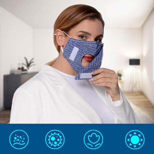 Letter Pattern Double Layer Reusable Open Mouth Face Covering with Adjustable Ear Loop in Blue-Grey