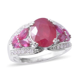 7.01 Ct African Ruby and Zircon Classic Ring in Rhodium Plated Silver 5.10 Grams