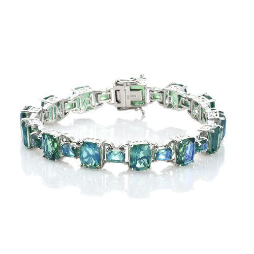 Designer Inspired-Peacock Quartz (Cush) Bracelet (Size 7.25) in Platinum Overlay Sterling Silver 37.