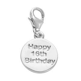Happy 16 Birthday Charm in Platinum Overlay Sterling Silver