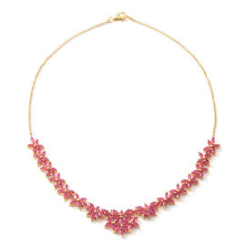 Limited Edition- African Ruby (Mrq) Necklace (Size 18) in Yellow Gold Sterling Silver 14.850 Ct., Silver wt 19.50 Gms.