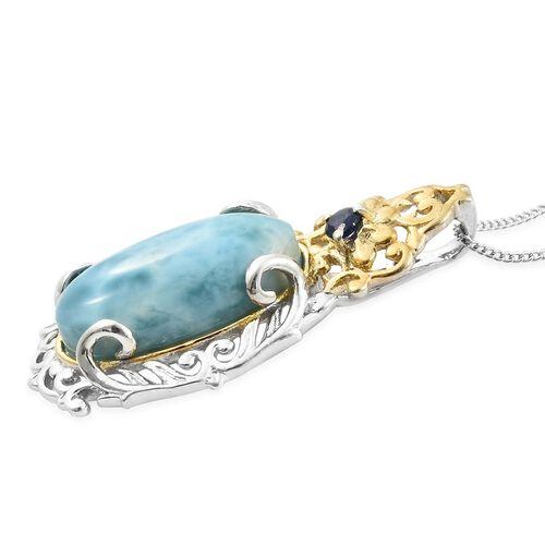 Larimar (Ovl), Kanchanaburi Blue Sapphire Pendant with Chain in Platinum Overlay Sterling Silver 9.750 Ct.