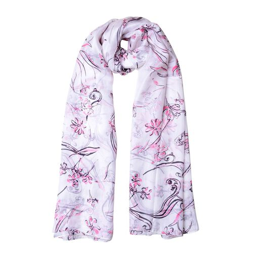 100% Mulberry Silk Pink, Black and White Colour Floral Pattern Scarf (Size 180X110 Cm)