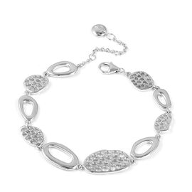 RACHEL GALLEY Rhodium Plated Sterling Silver Lattice Bracelet (Size 7 to 8.25), Silver wt 13.53 Gms.