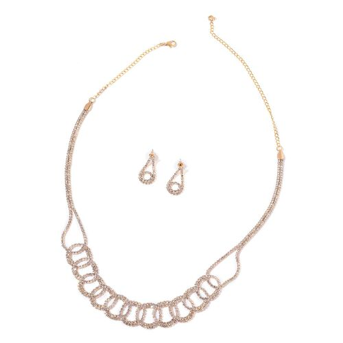 AAA White Austrian Crystal Necklace (Size 19 with 5 inch Extender) and Earrings (with Push Back) in Yellow Gold Tone