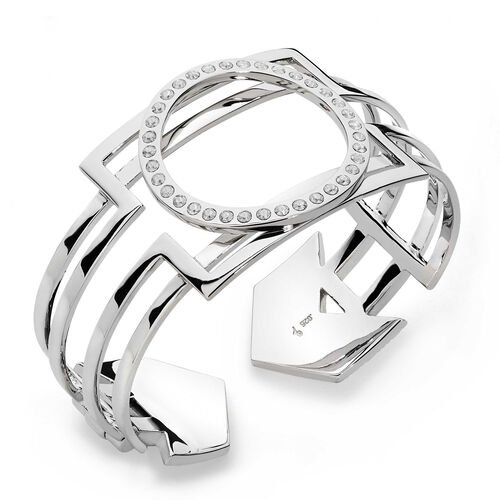 LucyQ White Crystal Studded Art Deco Bangle (Size 7.5) in Sterling Silver 57.80 Gms.