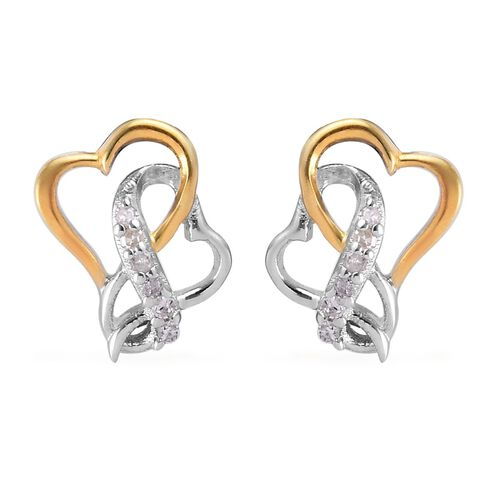 Natural Diamond (Rnd) Earrings (with Push Back) in Platinum and Yellow Gold Overlay Sterling Silver