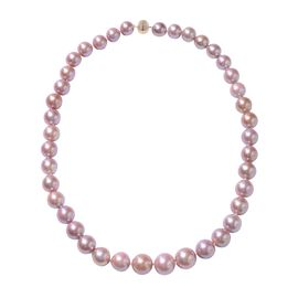 ILIANA 18K Yellow Gold Natural Purple Edison Pearl (Rnd 10-15 mm) Necklace (Size 20) with Magnetic L