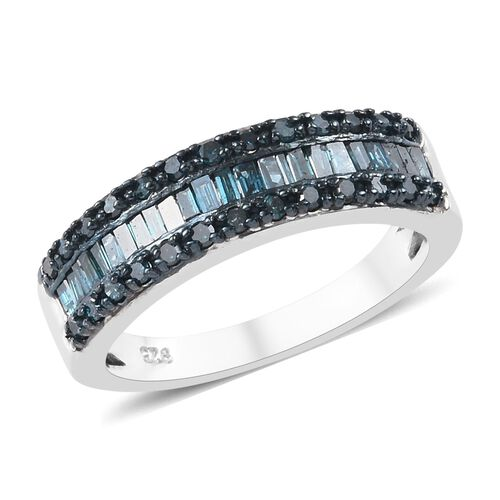 0.50 Ct Blue Diamond Half Eternity Band Ring in Platinum Plated Sterling Silver