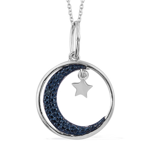 Designer Inspired-Blue Diamond (Rnd) Moon and Star Pendant with Chain (Size 18) in Platinum Overlay with Blue Plating Sterling Silver