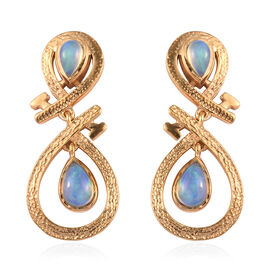 Ethiopian Welo Opal Infinity Nail Earrings (with Push Back) in 14K Gold Overlay Sterling Silver 0.80