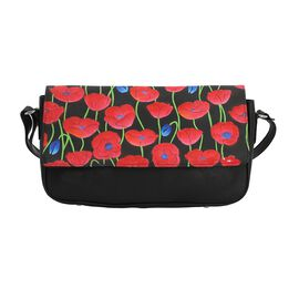 SUKRITI 100% Genuine Leather Poppy Crossbody Bag with Flap Opening and Adjustable Shoulder Strap (Si