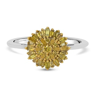 Yellow Diamond Cluster Ring in Platinum Overlay Sterling Silver 0.500 Ct.