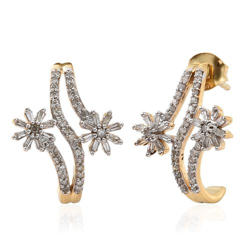 Designer Inspired-Diamond (Rnd and Bgt) Flower Earrings (with Push Back) in 14K Gold Overlay Sterlin