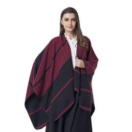 Black and Red Colour Big Stripe Pattern Blanket Kimono (Size 130x70 Cm)