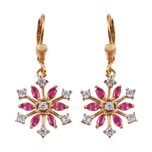 African Ruby (Mrq), Natural Cambodian Zircon Snowflake Lever Back Earrings in 14K Gold Overlay Sterl