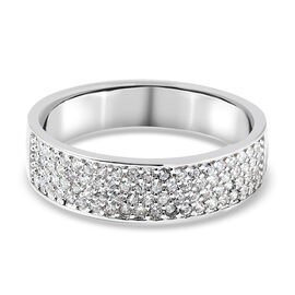 Moissanite Band Ring in Rhodium Overlay Sterling Silver