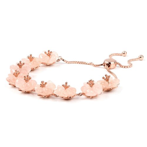 Jardin Collection-Extremely Rare Hand Carved Marropino Morganite Floral Bracelet (Size 6.5 to 8) in Rose Gold Overlay Sterling Silver 42.500 Ct,