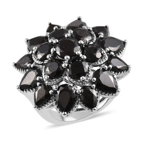 6.50 Ct Elite Shungite Floral Cluster Ring in Platinum Plated Sterling Silver 10.30 Grams