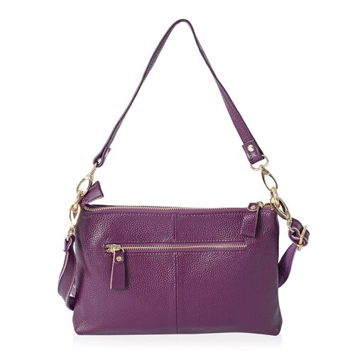 Super Soft 100% Genuine Leather Purple Cross Body Bag with Adjustable and Removable Shoulder Strap (Size 25x17x4 Cm)