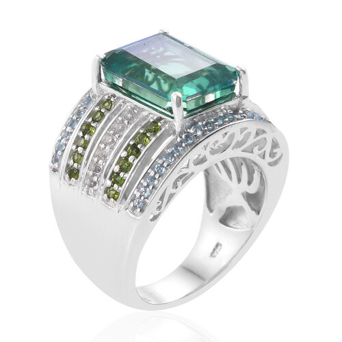 Peacock Quartz (Oct 7.85 Ct), Russian Diopside, Electric Swiss Blue Topaz and White Topaz Ring in Platinum Overlay Sterling Silver 9.000 Ct. Silver Wt 11.85 Gms