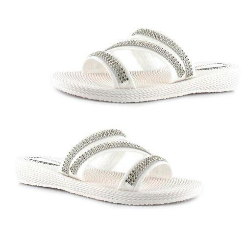 Ella Grace Diamante Slip on Sandals (Size 3) - White