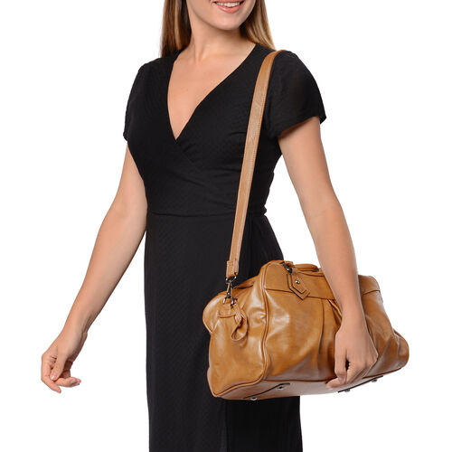 Super Soft Tote Handbag with Detachable Shoulder Strap and Zipper Closure (Size 39.5x13x23cm) - Bronze