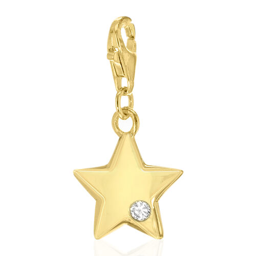 AAA Simulated Diamond Star Charm in Yellow Gold Overlay Sterling Silver.