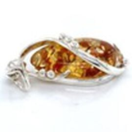 Natural Baltic Amber Pendant in Sterling Silver, Silver wt 6.83 Gms