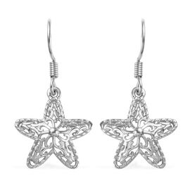 Platinum Overlay Sterling Silver Star Hook Earrings
