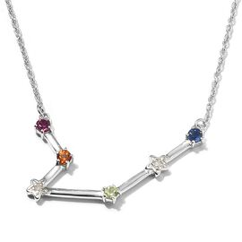 Diamond and Multi Gemstones Necklace ( Size 20) in 14K Gold Overlay Sterling Silver 0.35 Ct,  Sliver