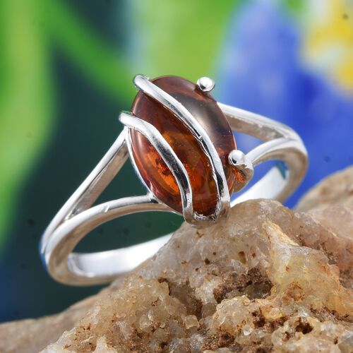 Baltic Amber (Ovl) Solitaire Ring in Platinum Overlay Sterling Silver 1.250 Ct.