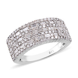 1 Carat Diamond Multi Row Ring in Platinum Plated Sterling Silver