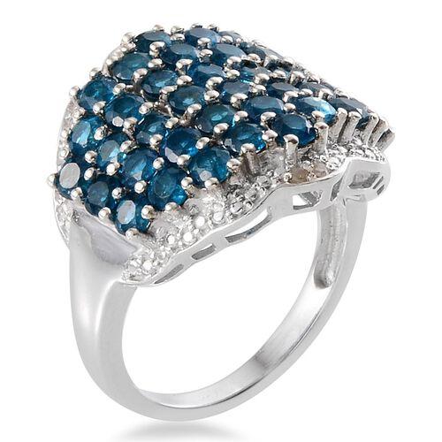 Malgache Neon Apatite (Rnd), Diamond Cluster Ring in Platinum Overlay Sterling Silver 5.020 Ct.
